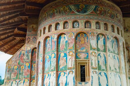 Romania, Voronet, 15 September 2019 - Voronet Monastery, Region Suceava, Romania - the church is one of the Painted churches of Moldavia listed in UNESCOs list of World Reklamní fotografie - 132990129