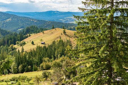 Beautiful landscape mountain hill meadow sunrise morning Bucovina village Romania. Reklamní fotografie - 132146889