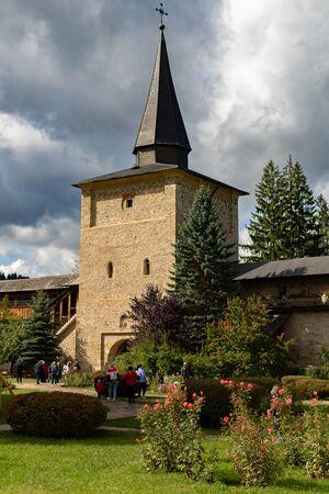 Gorgeous summer scene of Sucevita Monastery, a Spectacular morning view of Eastern Orthodox Church, Bukovina region, Romania, Europe.