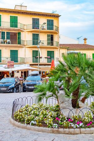 Spain Mallorca, July 8, 2019 - Alcudia old town view of the historical town gate Porta del Moll