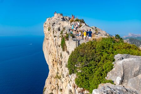 Mirador es Colomer - the main viewpoint at Cap de Formentor located on over 200 m high rock, Mallorca, Spain