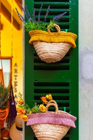 Basket of lavender on the wall of streets of Mallorca, Spain