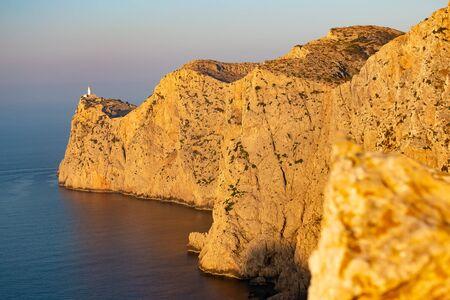 Lighthouse at Cap Formentor during sunrise, Mallorca, Mediterranean sea