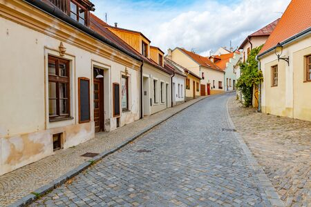 Romantic beautiful picturesque streets of medieval historic centre of Znojmy city, Czech Republic, Europe