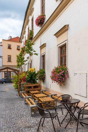 Romantic beautiful picturesque streets of medieval historic centre of Znojmy city, Czech Republic, Europe 版權商用圖片