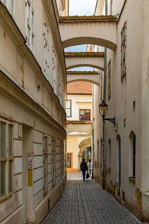 Interesting architecture of old historic narrow street of Znojmo, Czech Republic, Europe