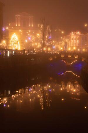 Fairytale Ljubljana city In Christmas Time with Christmas Tree, bridge and Christmas decoration, Slovenia Reklamní fotografie