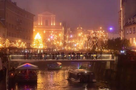 Fairytale Ljubljana city In Christmas Time with Christmas Tree, bridge and Christmas decoration, Slovenia