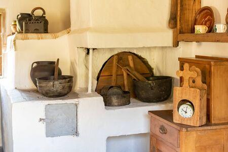 Chernivtsi, Ukraine, Sep 15 2019 - Interior of typical old house Chernivtsi Regional Museum of Folk Architecture and Life. Reklamní fotografie - 136577696