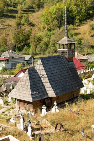 Wooden Church St. Archangels Michael and Gabriel near Gersa, Rebrisoara, in Romania Reklamní fotografie - 146738267