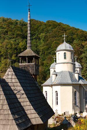 Wooden Church St. Archangels Michael and Gabriel near Gersa, Rebrisoara, in Romania Reklamní fotografie - 146738314