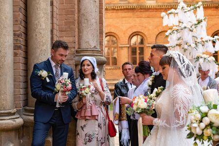 Ukraine, 15 Sep 2019 - Typical Ukrainian Wedding with old customs and decoration, Ukraine. Redakční