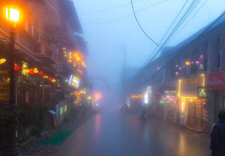 Vietnam, Sapa, 15 Mar 2018 - Street night view of the center of Sapa, Vietnam