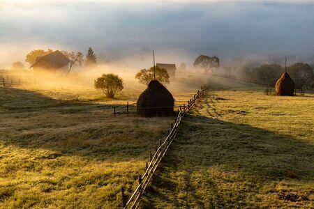 Beautiful mountain landscape in autumn morning near Rodnei Mountains National Park, Romania.