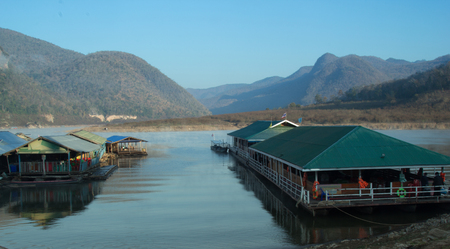 View of Bhumibol Dam, Routing water from the Bhumibol Dam in Tak to Lamphun province of Thailand. Stock Photo