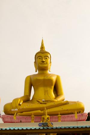 god walking: March 27, 2017 : Big golden buddha Stucco at Wat Klong reua. Phitsanulok, Thailand.