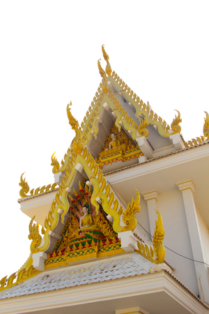 March 29, 2017 : Delicate Thai art at front facade of Buddhist church building at Wat Ton Chumsaeng Temple. Phichit, Thailand. Stock Photo