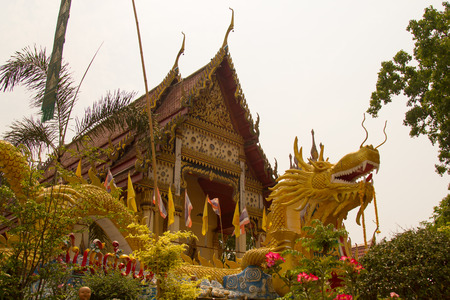 asian art: Landmark of Buddhist temple at Wat Mai Kham Wan temple, Phichit, Thailand. Stock Photo