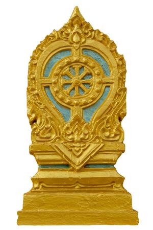 Sema-grensteller van een tempel, symbool van boeddhismekerk op witte achtergrond wordt geïsoleerd die.
