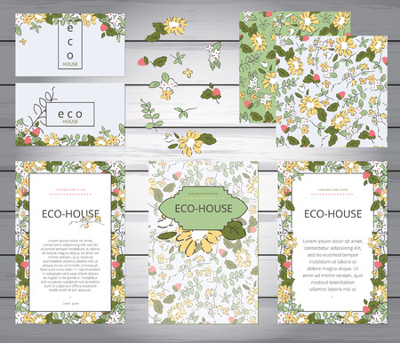 business event: Business or other event painted floral background. Design stationery set in vector format. Corporate design. Wedding, shabby chic. Yellow flowers and berries