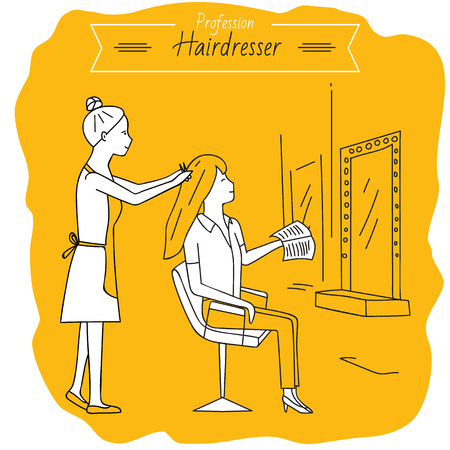 hairstylist: Profession hairdresser. Woman doing haircut. Job. Beauty saloon.