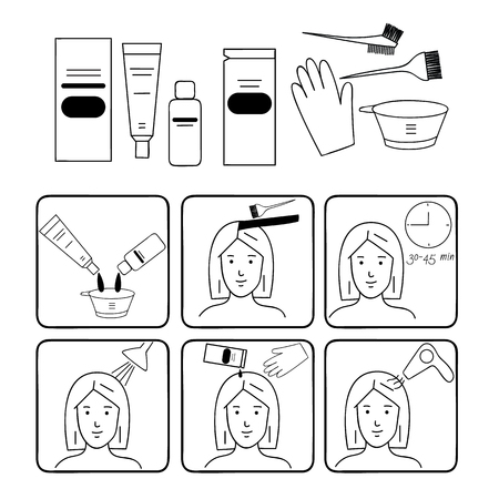 Hair coloring, accessories and supplies for hairdressers. Steps to Dye Your Hair. Illustration