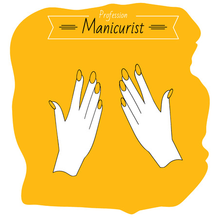 french manicure: Profession manicurist. Hands, manicure Beauty saloon. Illustration