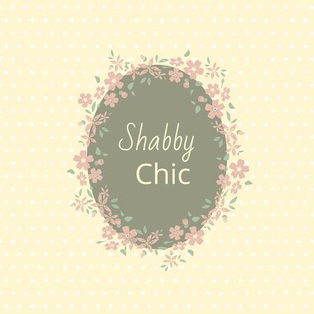 Shabby chic. Elegant vintage background piselli e fiori telaio. Per un matrimonio o una festa con lo spazio per il testo. vettore
