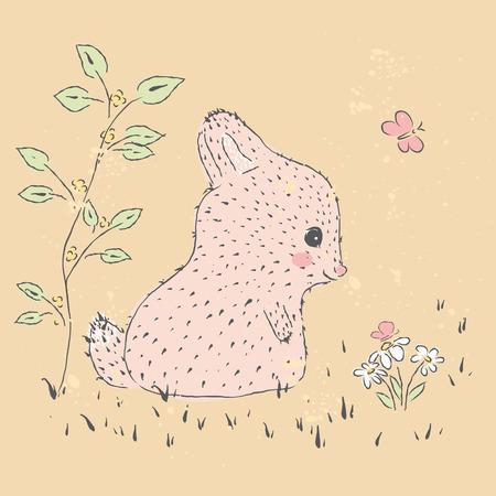 ilustración dibujados a mano linda de la tarjeta del bebé