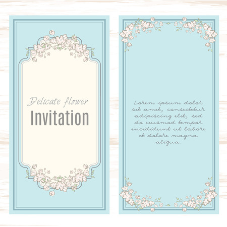 invitation frame: greeting card template floral background. Design stationery set in vector format. Wedding card or invitation, shabby chic