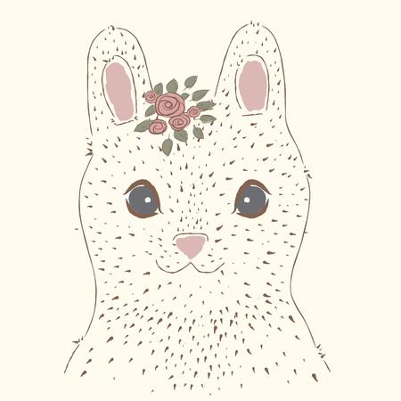 vintage portrait: Cute rabbit. Vintage portrait