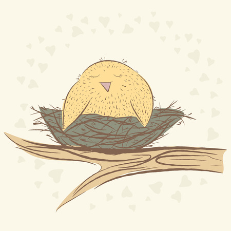 cute birds. sketch Illustration