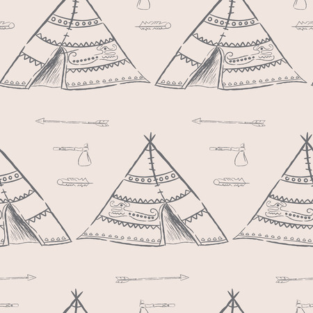 tomahawk: Hand drawn illustrations wigwam with decorative elements and a set of arrows, feather and tomahawk. Authentic tepee for design card. North American Indian wigwam Stock Photo
