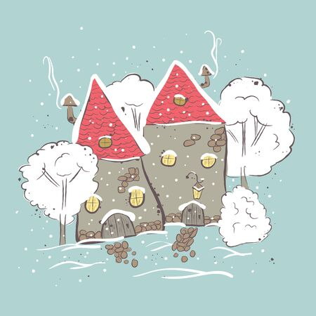 beautiful winter suburbs. Winter scene with house and trees. Suitable for printing on T-shirt or sweater, t-shirt design, sketch of a house, Childrens clothing shirt. Cute winter landscape Stock Photo