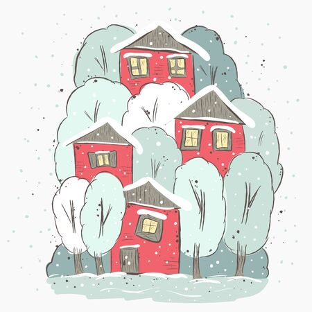 winter scene: beautiful winter suburbs. Winter scene with house and trees. Suitable for printing on T-shirt or sweater, t-shirt design, sketch of a house, Childrens clothing shirt. Cute winter landscape Stock Photo