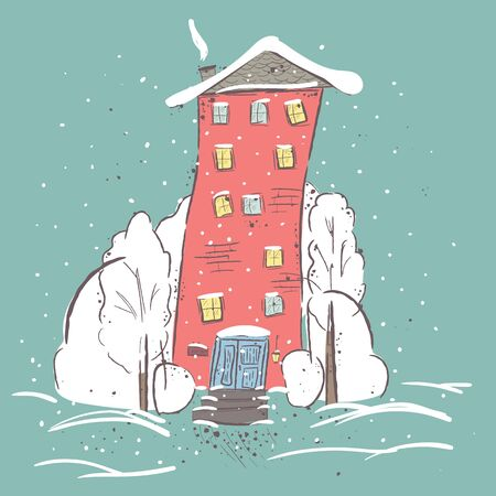 suburbs: beautiful winter suburbs. Winter scene with house and trees. Suitable for printing on T-shirt or sweater, t-shirt design, sketch of a house, Childrens clothing shirt. Cute winter landscape Stock Photo