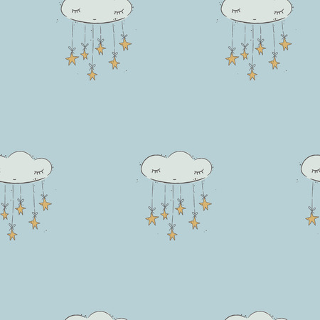 meteorology: seamless pattern of clouds. hand drawn clouds Stock Photo