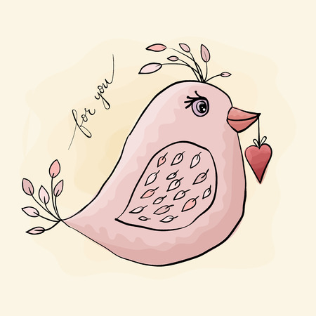 Pink bird with heart. Valentine's Day. watercolor, grunge.