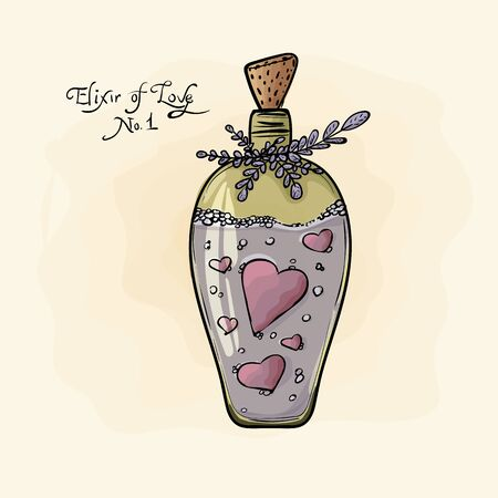 bottle. Elixir of love. Valentine's Day. watercolor, grunge.