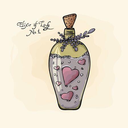 elixir: bottle. Elixir of love. Valentines Day. watercolor, grunge.