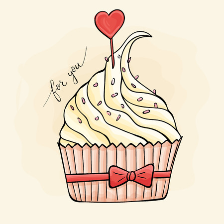 Sweet cupcake with a heart. Valentine's Day. watercolor, grunge. Reklamní fotografie