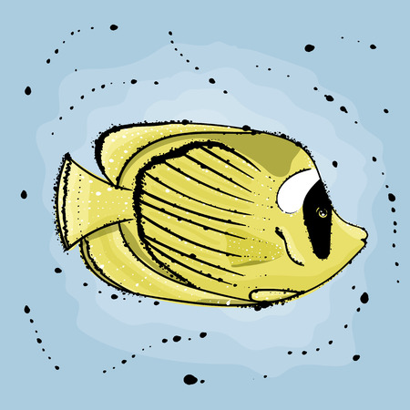 butterfly fish.  Hand drawn vector illustration in watercolor style.
