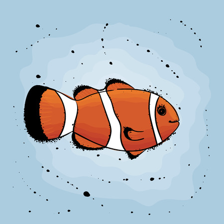 Clown fish. Hand drawn vector illustration in watercolor style.