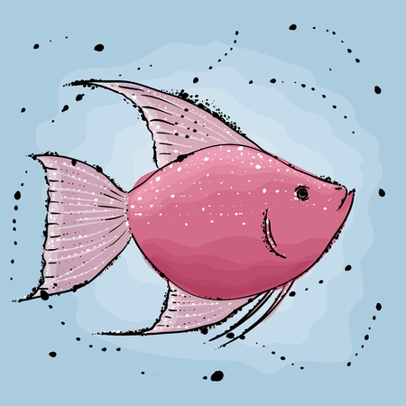 Pink fish.  Hand drawn vector illustration in watercolor style.