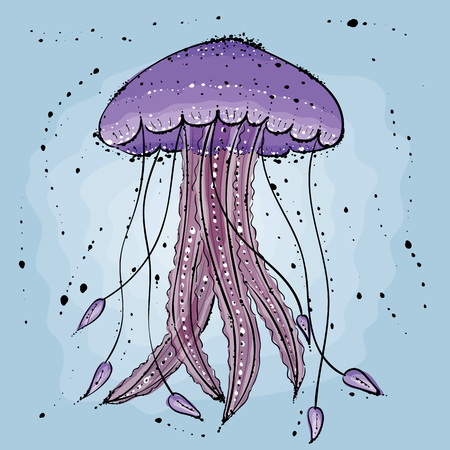 Jellyfish.  Hand drawn vector illustration in watercolor style. Reklamní fotografie