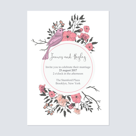 Flower invitation card template vector