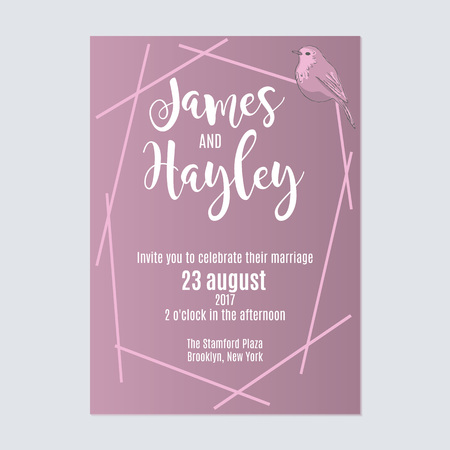 Lilac with stripes and a bird floral wedding invitation card template vector