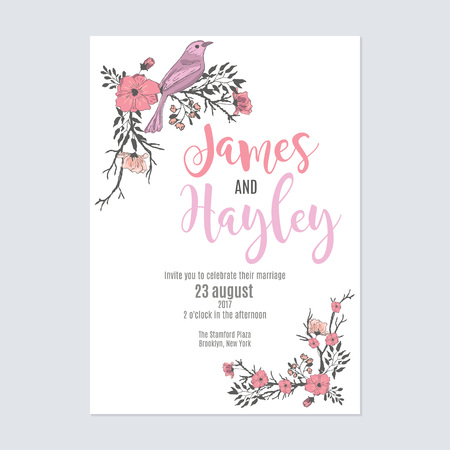 A bright pink holiday floral wedding invitation card template vector
