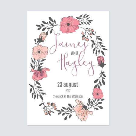 Frame of flowers with text floral wedding invitation card template vector