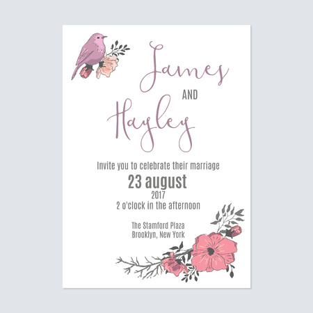 Delicate pink wedding invitation card template vector